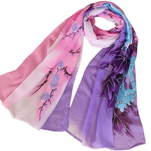 LMVERNA flower chiffon scarves for women printe chiffon silk scarves fashion beach shawls (Purple) -