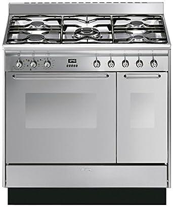 Smeg cc92mx9 cucina double cavity 90cm dual fuel range for Cucina freestanding prezzi