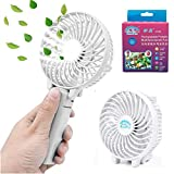 Mini Fan Battery Operated, Kingcenton Handheld Portable Foldable 4 Inch Fan with Clip for Stroller - 2000mAh Rechargeable Battery, 3 Speeds Adjustable for Home, Office and Travel (White)