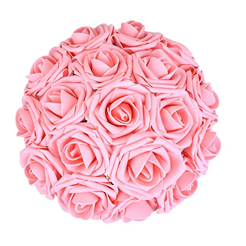 Febou Artificial Flowers, 50pcs Real Touch Artificial Foam Roses Decoration DIY for Wedding Bridesmaid Bridal Bouquets Centerpieces, Party Decoration, Home Display, Office Decor (Pink) Wedding Party Centerpieces