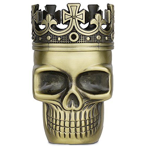 Golden Bell Upgraded Full Metal Spice Herb Skull Grinder - Bronze