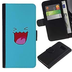 LECELL--Cuero de la tarjeta la carpeta del tirón Smartphone Slots Protección Holder For Samsung Galaxy S6 -- Cara linda sonriente azul --