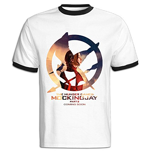 NINJOE Men's Cotton The Game Katniss Poster Sport Short T-shirt Black M (The Hunger Games: Catching Fire Katniss Costume For Women)