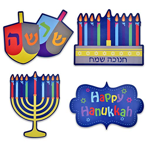 - Gift Boutique Happy Hanukkah Cutouts Hanging Wall Decorations Banner Dreidel Menorah Star of David 16 Pack for Party Supplies