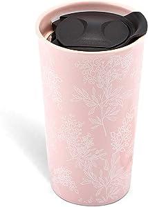KARALIN Ceramic Travel Coffe Mug with Double Wall Insulated Tumbler,Splash Proof Mug Lid 12 oz (Pink)