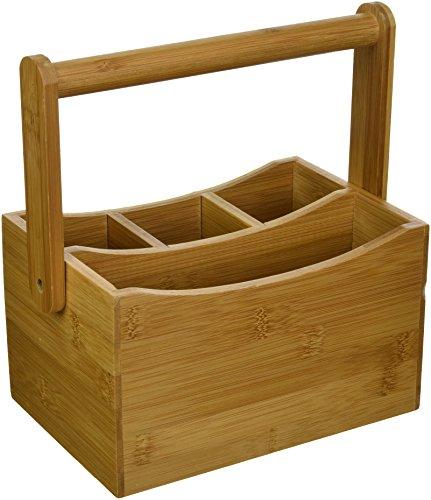 "Lipper International 8842 Bamboo Wood Flatware Caddy with Folding Handle, 8-7/8"" x 5-1/2"" x 9-1/4"""