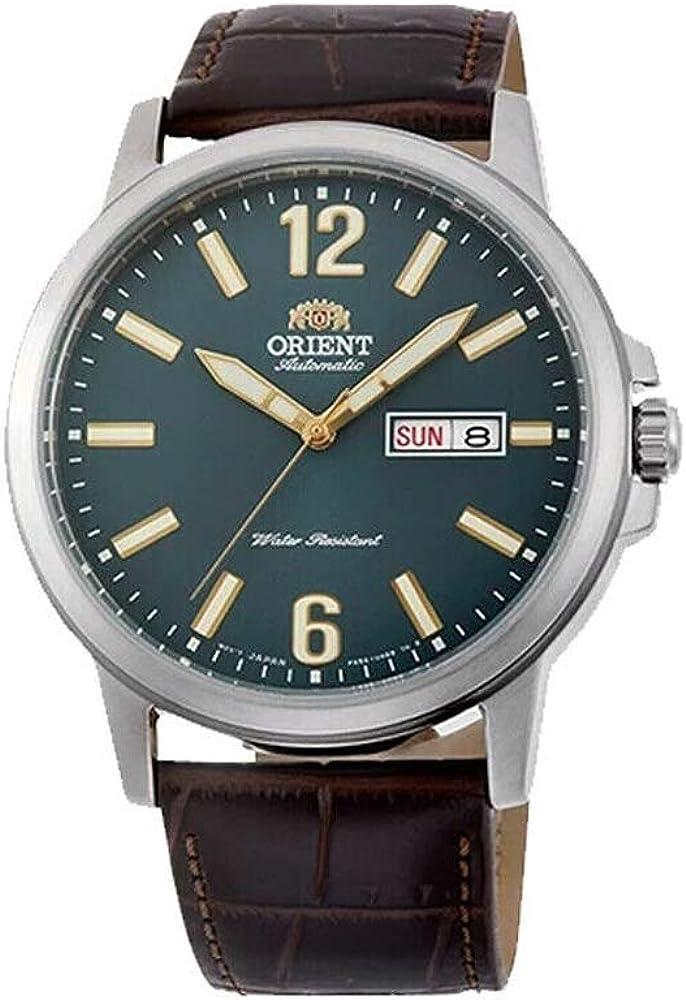 Orient RA-AA0C06E - Reloj automático para hombre (correa de piel, esfera verde, fecha y día), color marrón