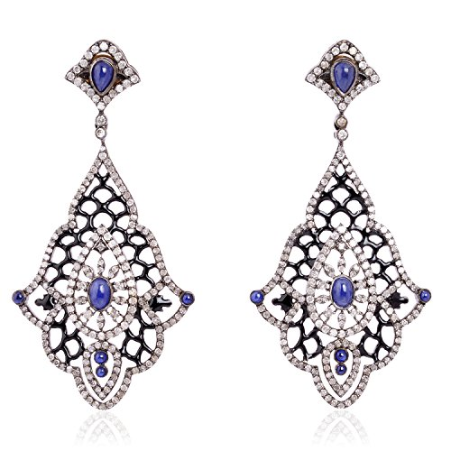 - Natural Diamond and Sapphire Dangle Earring 18K Yellow Gold and Sterling Silver Jewelry