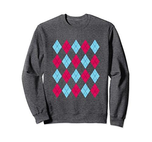 Unisex Argyle Pink and Blue pattern 80s retro preppy sweatshirt XL: Dark - 1980s Preppy