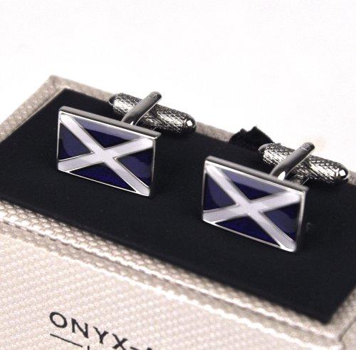 Onyx Art Cufflinks – Scottish Flag