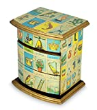 NOVICA Decorative Paper Wood Decoupage Jewelry Box, Blue, 'Mexican Loteria'