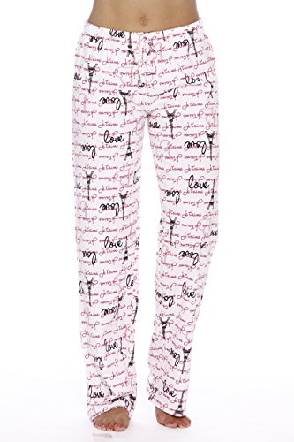 (6324-10006-3X Just Love Women Pajama Pants / Sleepwear, Love Paris White, 3X)
