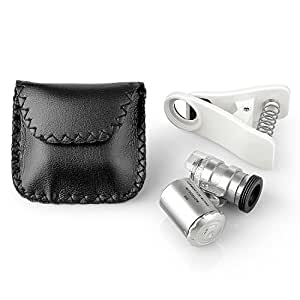 Neewer - Lupa Micro, Microscopio de lente 60x Zoom para iPhone 6S plus/6S/6/6plus/ 5 5c 5s/ 4 4s/ Samsung Galaxy S5 G900H /S4 i9500 / S3 i9300 / Note 2 II / Note 3 III/ Note 4 IV/ HTC