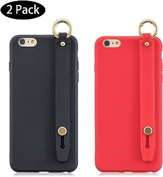 Leton [2 Pack] Funda iPhone 6 Plus Negra Rojo, Carcasa para iPhone 6 Plus / 6s Plus Silicona con Correa de muñeca, Fundas Móvil Antigolpes Suave Flexible TPU Cubierta Caja Tapa Caso: Amazon.es: Electrónica