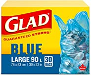 Glad Blue Recycling Bags - Large 90 Litres - Easy-Tie Handles, 30 Trash Bags
