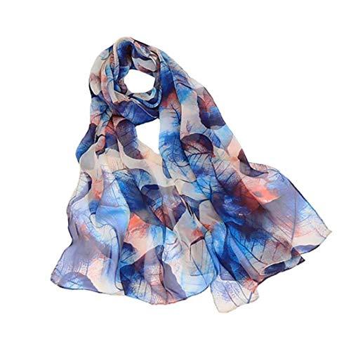 Print Scarf Scarf - Print Silk Feeling Scarf Fashion Scarves Lightweight Shawl Scarf Sunscreen Shawls for Womens (Leaves&Blue)