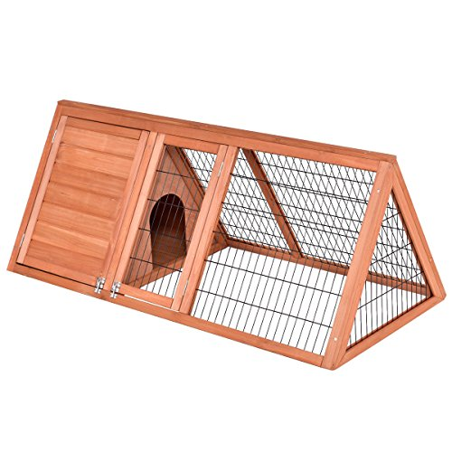 TANGKULA Pet House Wood Outdoor Backyard Rabbit Hutch Bunny Pig Small Animal Pet Cage with Run