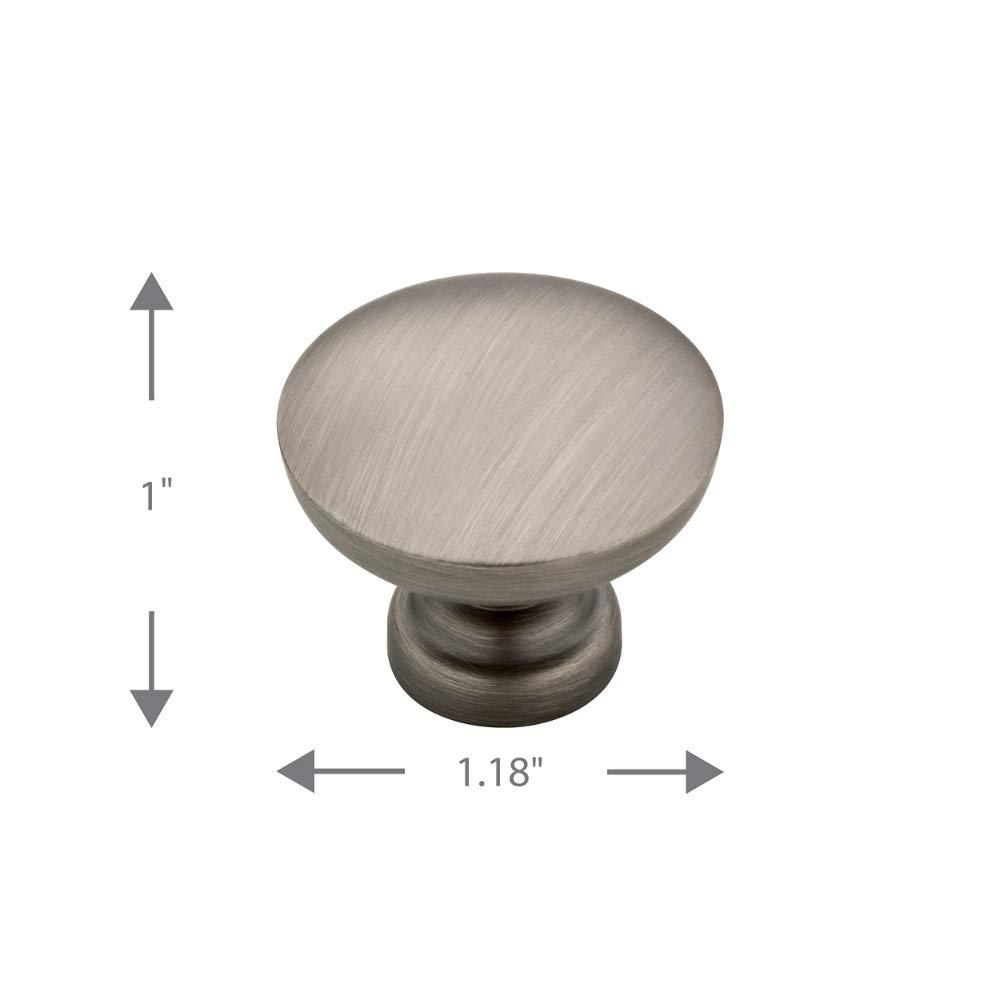 Flat Top Round Knob Brushed Nickel 30mm Franklin Brass P29523-SN-C 1-3//16
