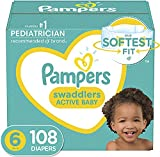 Diapers Size 6, 108 Count - Pampers Swaddlers Disposable Baby Diapers, ONE MONTH SUPPLY (Packaging May Vary)