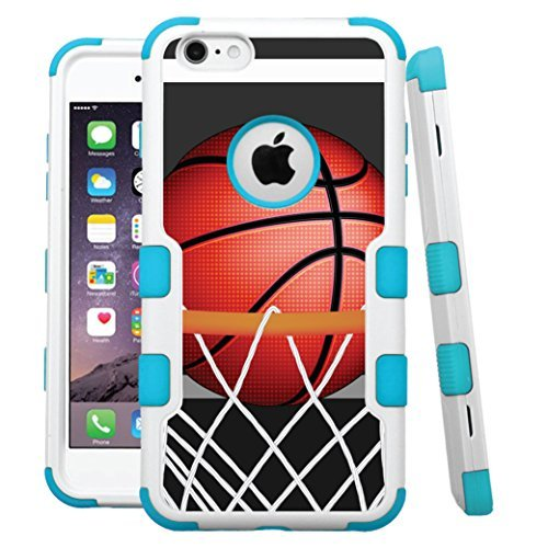 "iPhone 6 /6s Case, HJ Power[TM] For Apple iPhone 6 / 6s 4.7"" (All Carrier) ~ NATURAL TUFF Hybrid Rubber Hard Snap-on Case Teal Blue White-BasketBall Hoop"