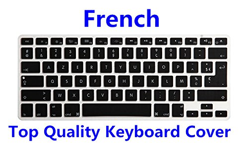HRH AZERTY French Language Silicone Keyboard Cover Skin for MacBook Air 13,MacBook Pro13/15/17 (with or w/Out Retina Display, 2015 or Older Version)&Older iMac,USA and European Layout ()