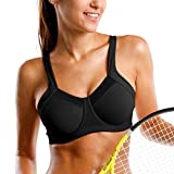 SYROKAN Women's High Impact Workout Running Powerback Support Underwire Sports Bra Black 34DD