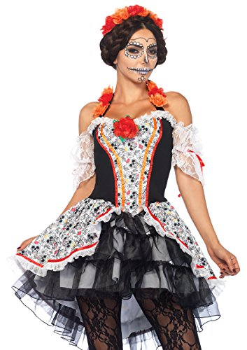Leg Avenue Women's Lovely Calavera Costume, Multi, Small/Medium