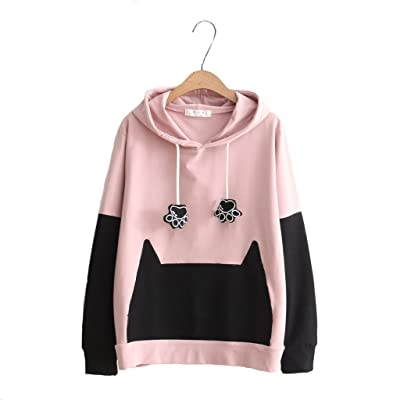 Aza Boutique Girl's New Cute Cat Paw Style Hoodie with cat ear at Women's Clothing store