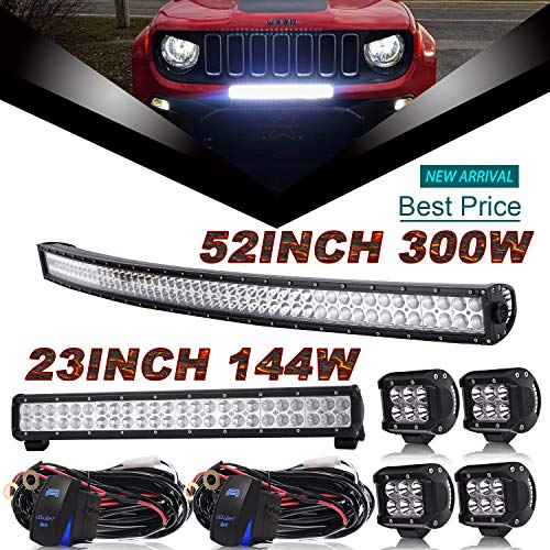 DOT 52Inch Curved Led Light Bar Combo + 23Inch Led Light Bar + 4Pcs 4Inch Led Lights w/Rocker Switch Wiring Harness for Trailer Boat SUV ATV Jeep Wrangler Dodge Chevy Ford Tractor Toyota Truck