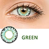 Adoeve Women Multicolor Cute Charm and Attractive Materials Contact Lenses (Green 1 PC)