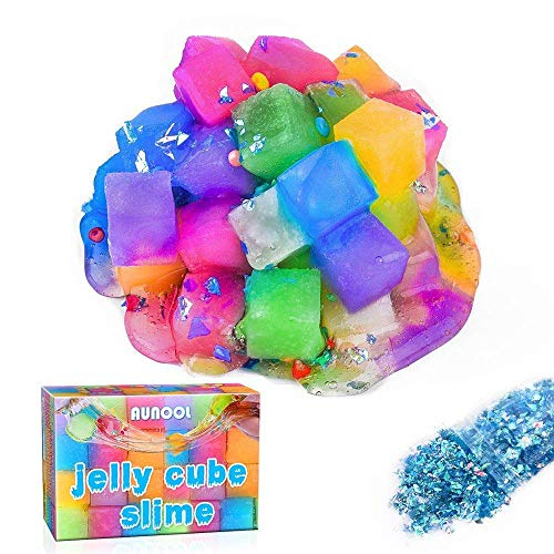 AUNOOL Jelly Cube Slime - Clear Crystal Putty Scented Cube Slime for Kids, Super Soft Non Sticky Stretchy with Special Texture (6 Pack)