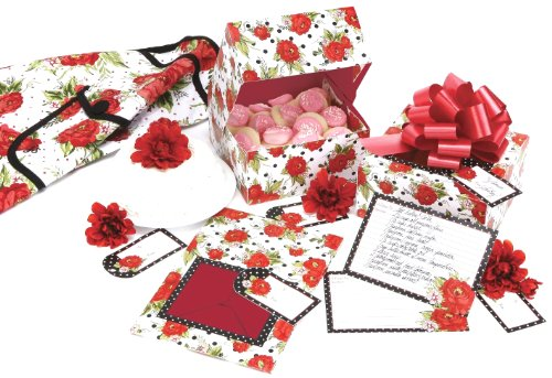 C.R. Gibson Jessie Steele Treat Box Set, Dotted Cottage Rose