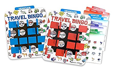 Melissa & Doug Flip to Win Travel Bingo Game - 2 Wooden Game Boards, 4 Double-Sided Cards