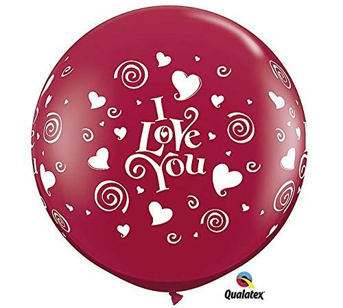 PIONEER BALLOON COMPANY 28188 Ily Swirling Hearts Wrap Latex Balloon, 3'