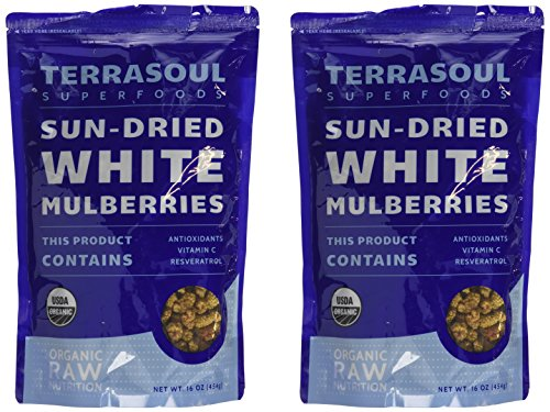 Sun-dried White Mulberries (Organic), 16-ounce (Pack of 2) (Sun Dried Fruits)
