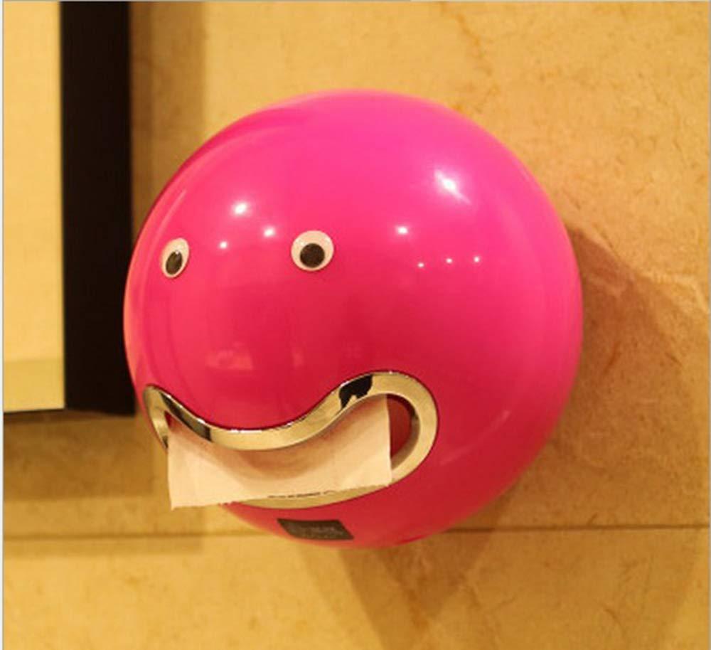 Vis fixe rouge Rouleau de papier Holders Uwood Cute emoji en forme de bo/îtes de mouchoirs /étanche /à fixation murale avec visage Autocollant pour salle de bain wc