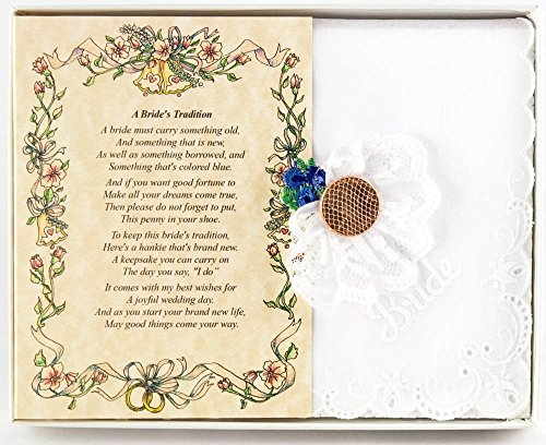 Wedding Handkerchief Poetry Hankie Lucky Penny Something Blue (Friend or Family to Bride) White, Lace Embroidered Bridal Keepsake, Beautiful Poem | Long-Lasting Memento for the Bride | Includes Gift S (Want To Be More Than Friends Poems)