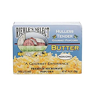 """Riehle's Select Popping Corn """"Hulless"""" Butter Microwave Popcorn - 1 Box (3 Packs)"""