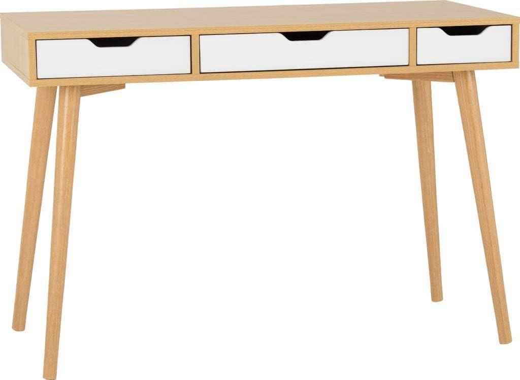 Seville 3 Drawer Console Table White Gloss//Light Oak Effect Veneer
