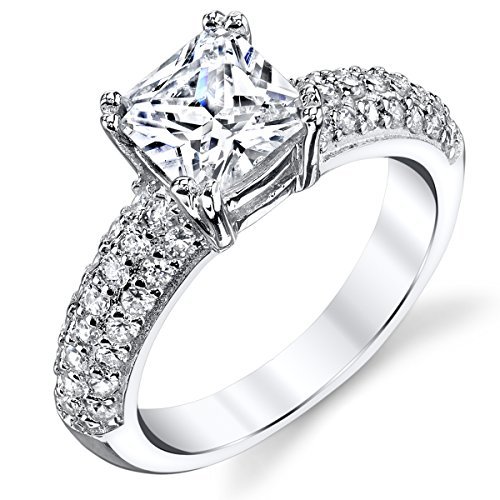 (1.5 Carat Princess Cut Cubic Zirconia Sterling Silver 925 Wedding Engagement Ring Band Size)