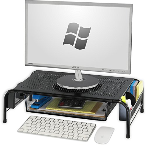 SimpleHouseware Metal Desk Monitor Stand Riser with Organizer ()