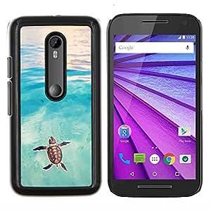 Tortuga Tortuga de mar del bebé de la acuarela- Metal de aluminio y de plástico duro Caja del teléfono - Negro - Motorola Moto G (3rd gen) / G3