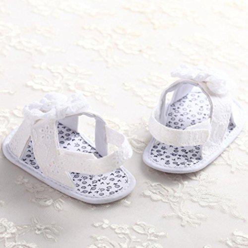 Zapatos de bebé, Switchali Recién nacido bebe niña primeros pasos verano Niño Cuna Suela blanda Antideslizante Zapatillas niñas vestir floral casual Calzado de deportes Blanco