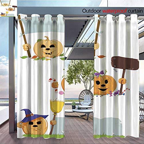 BlountDecor Indoor/Outdoor Single Panel Print Window Curtain Halloween Pumkin Silver Grommet Top Drape W96 x -