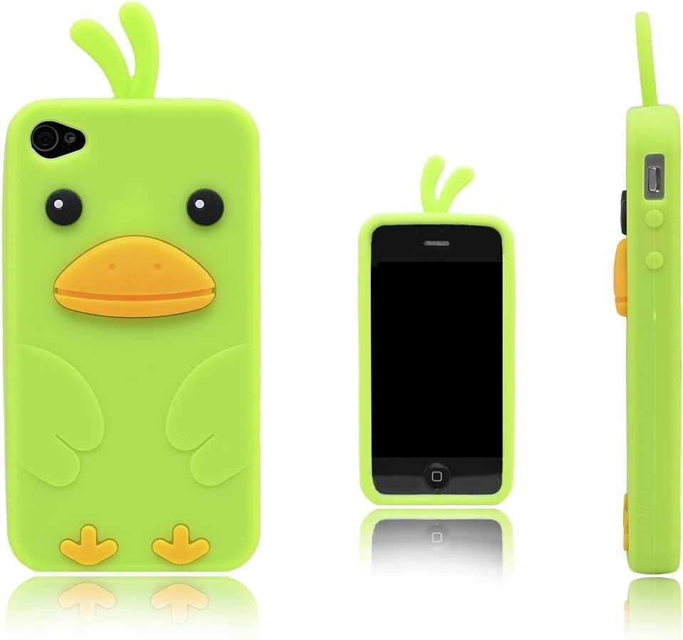 Xcessor Chicken Pollo Funda Carcasa de Silicona Para Apple iPhone 4 y 4S. Verde