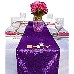 ShinyBeauty 12x108-Inch Sequin Table Runner Purple 1 Piece