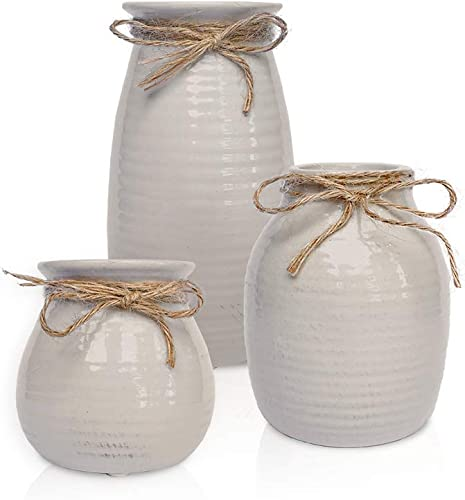 White Vases for Decor – Rustic Home Decor, Modern Farmhouse Decorations – Ceramic Vase for Fireplace Decor – Vases for Flowers, Rustic Decor for Living Room – Farmhouse Decor for the Home, Set of 3