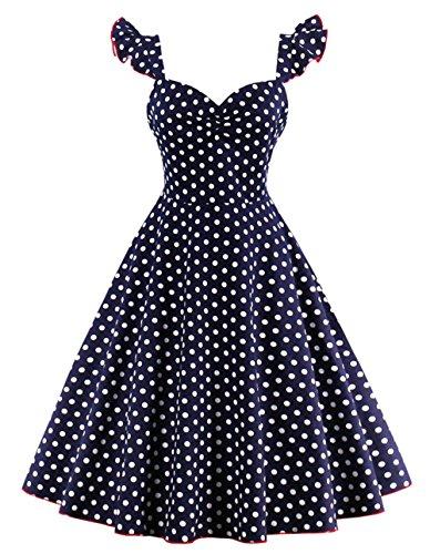 39026d17f74b Bestfort Vintage Kleider Damen 50er Retro Mode V-Ausschnitt Polka Dot Rockabilly  Kleid Festliche Ärmellos