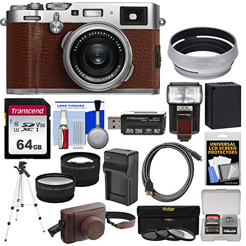 (Fujifilm X100F Wi-Fi Digital Camera (Brown) with 64GB Card + Battery & Charger + Leather Case + Tripod + Flash + Tele/Wide Lens Kit)