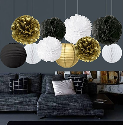 Gold Black White Party Decor Kit Tissue Paper Pom Poms Flower Paper Lantern Paper Honeycomb Balls Themed Party Hanging Decoration Favor for Birthday Decoration Black Gold Themed Decoration (New Years Eve Decorations)